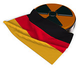 nuclear symbol and flag of germany on white background - 3d illustration