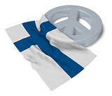 peace symbol and flag of finland - 3d rendering