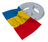 peace symbol and flag of romania - 3d rendering