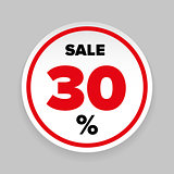 Sale Sticker Thirty percent