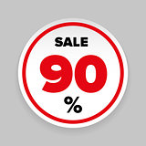 Sale Sticker Ninety percent
