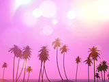 3D palm trees landscape with a retro effect