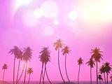 3D palm trees landscape with a retro effect