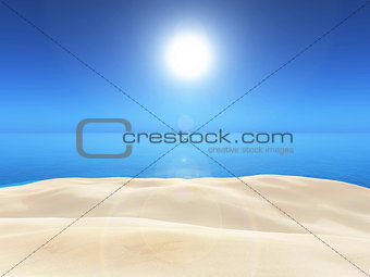 3D sand and blue sea landscape