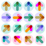 Abstract colorful arrows, direction, illustration