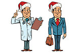 Smiling Christmas doctor and businessman