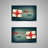Gift voucher with present on blue background