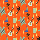 Hawaii beach orange seamless vector pattern.