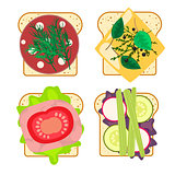 Sandwich set isolated vector illustration.