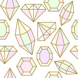 Diamond gem shape seamless pattern.