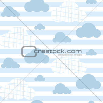 Baby boy vector seamless pattern. Light blue fun sky print for textile.