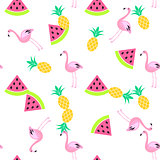 Tropic summer seamless white pattern.