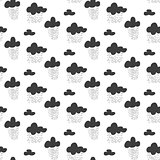 Baby vector seamless pattern. Black fun rainy sky print for textile.