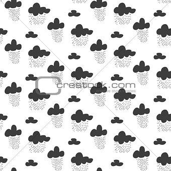 Baby vector seamless pattern. Black fun rainy sky print for textile.