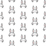 Bunny stylized line fun seamless pattern for kids and babies.