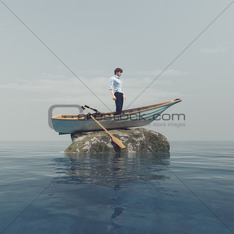 A mariner in a boat