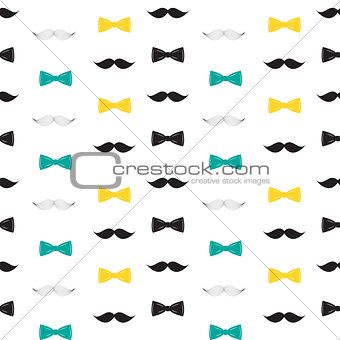 Bow Tie and Mustache Seamless Pattern, Father s Day Background Vector Illustration