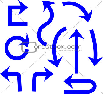 Blue arrows on white background