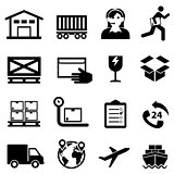 Shipping, delivery, distribution and warehouse web icon set