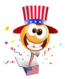 July Fourth Independence Day. Smile Uncle Sam jumps out of box