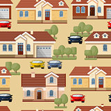 Vector seamless pattern of cars, trees and houses.