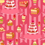 Vector Cake seamless pattern. Cute various desserts.