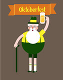 Oktoberfest character grandpa.Grandfather with a glass of beer, folk costumes. Poster. Flat design vector illustration