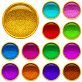 Set Golden Buttons with Patterned Gems