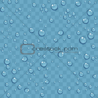 Clean water drops of dew on transparent background