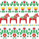 Swedish Dala horse pattern, Scandinavian seamless folk art design with flowers