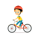Happy little boy in helmet riding bicycle. Cartoon flat style.