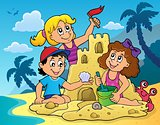 Children building sand castle theme 2