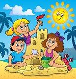 Children building sand castle theme 3