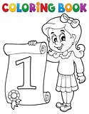 Coloring book girl holds certificate