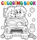 Coloring book wedding car