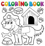 Coloring book with police dog