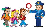 Pupils and policeman image 1