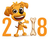 Yellow dog symbol 2018 year on Chinese calendar