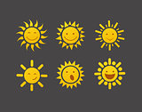 Set of glossy sun images vector illustration