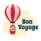 Bon Voyage postcard, banner, poster with girl in air balloon