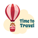 Time to Travel postcard, banner, poster with girl in air balloon