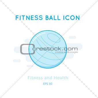 Fitness ball icon isolated on white.