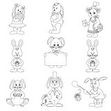 Set toy rabbits, outline