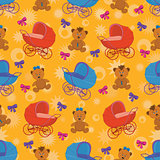 Seamless background, bears and prams