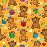 Seamless background, bears and gifts