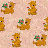 Seamless pattern, teddy bears and gifts flowers