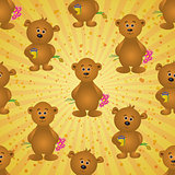 Seamless pattern, teddy bears and gifts