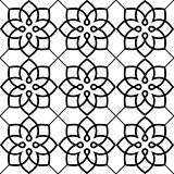 Geometric seamless pattern, Arabic ornament style, tiled design in black