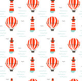 Hand drawn vector cartoon seamless pattern with lighthouse,hot air ballon and sea waves isolated on white background
