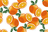Orange seamless pattern vector on white background